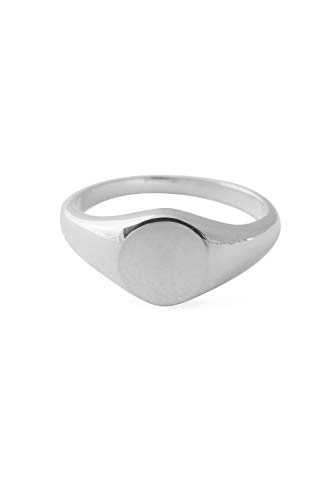 Initial Signet Ring - HONEYCAT Signet Ring   Minimalist, Delicate Jewelry (Silver, 5)