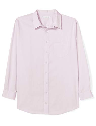 Amazon Essentials Men's Big & Tall Wrinkle-Resistant Long-Sleeve Solid Dress Shirt, Pink, 20