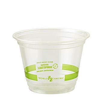 Cold Pla Cups - World Centric's 100% Biodegradable, 100% Compostable 9 Ounce Squat Corn PLA Cold Cup (Package of 200)