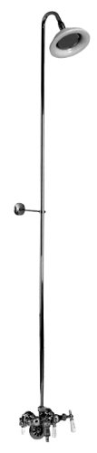 Barclay Leg Tub Diverter Faucet for Cast Iron Tub with Old Style Spigot, Riser and Sunflower Shower Head Cp Leg Tub Filler