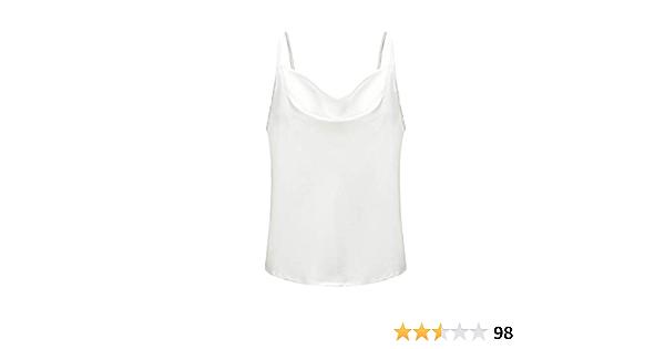 RuiXiang Womens Silk Spaghetti Strap Ladies Camisole V Neck Adjustable Satin Slip Soft Vest Tank Top for Women