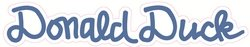 - 8 Inch DONALD DUCK AUTOGRAPH Text Name Sign Words Letters Mickey Mouse Clubhouse Removable Wall Decal Sticker Art Walt Disney Signature Home Decor 7 3/4 inches wide by 1 1/4 inches tall
