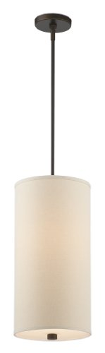 - Forecast Lighting F1307-20 Embarcadero One-Light Pendant with Vanilla Fabric Shades and Etched White Glass, Sorrel Bronze