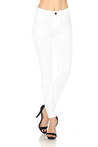 (Auliné Collection Womens Solid Slim Fit Color Skinny Stretchy Ponte Pants White S)