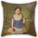 Beautifulseason Throw Pillow Covers Of Oil Painting Henry Mosler - Elizabeth Moerlein Portrait, 1869,for Boys,home Office,boy Friend,pub,christmas,bar 18 X 18 Inches / 45 By 45 Cm(twin Sides)