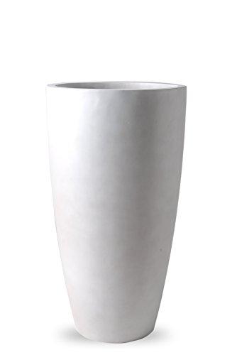 Handmade, Large Fiberglass Garden Planter Pot, Indoor/Outdoor (Turrim Matte Oyster White, Natural Finish, Round, Tall, 12