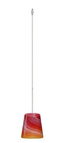 Besa Lighting XP-5131SL-SN 1X50W Gy6.35 Canto 5 Pendant with Solare Glass, Satin Nickel Finish