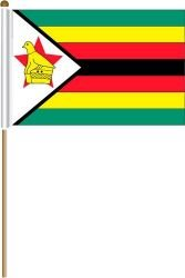(Zimbabwe Large 12 X 18 Inch Country Stick Flag Banner on a 2 Foot Wooden Stick .. Great Quality Polyester ... New)
