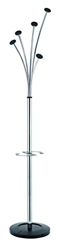 Alba Festival Floor Coat Stand with Weighted Base, Chrome with Black Accents - Floor Alba