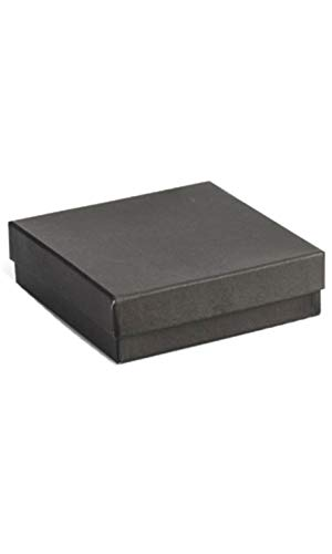 Cotton Filled Black Jewelry Boxes - 3½