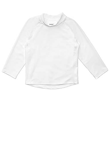 Leveret Long Sleeve Baby Boys Girls Rash Guard Sun Protected UPF + 50 Kids & Toddler Swim Shirt (White, Size 18-24 Months)