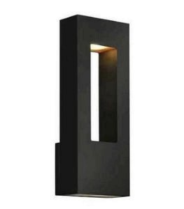 Hinkley 1648SK-LED MED WALL OUTDOOR, Satin Black Finish with Etched Glass