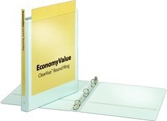 Cardinal EconomyValue ClearVue Round Ring Binder - 125 Sheet - 0.625amp;quot; Capacity - 1 Each - White -