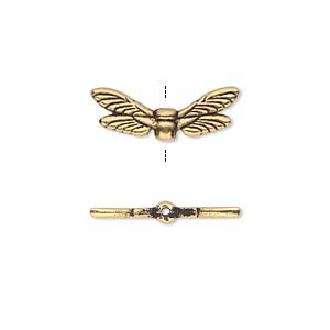 Dragonfly Wings Antique (Bead TierraCast antique gold-plated pewter (tin-based alloy) 19.5x7mm double-sided dragonfly wings)
