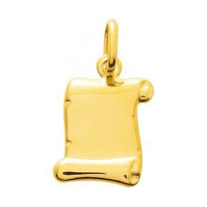 So Chic Bijoux © Pendentif Parchemin Or Jaune 750/000 (18 carats) - Personnalisable : gravure offerte