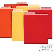 Martha Stewart Home Office with Avery Vertical File Folder 2 Tabs 1/2-cut 6 Vertical File Folders, Assorted Colors - Orange, Red, Yellow, 9-1/8