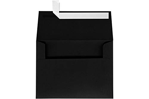 (LUXPaper A7 Invitation Envelopes for 5 x 7 Cards in 80 lb. Black Linen, Printable Envelopes for Invitations, w/Peel and Press Seal, 50 Pack, Envelope Size 5 1/4 x 7 1/4 (Black))