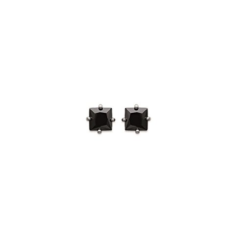 MARY JANE - Boucles d'oreilles Argent Femme/Homme/Fille/Garçon - Larg:5mm / Haut:5mm - Argent 925/000 rhodié-Zirconium (Carré)