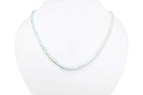 Handmade Natural Aquamarine Saucer Beads Necklace Strand with 925 Siver clasp ()