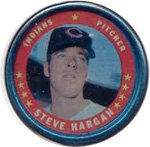 1971 Topps Topps Coins (Baseball) Card# 110 Steve Hargan of the Cleveland Indians ExMt Condition