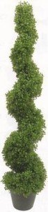Artificial 4 foot 2 inch Boxwood Spiral Topiary Tree in a Pot