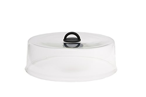 Microwaveable Tall Glass Plate Cover with Black Easy-Grip Silicone Handle by Catamount Glassware ()