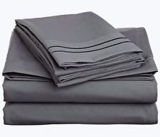 500 Thread Count FULL Size Sofa Sleeper Bed Sheet Set in Solid Elephant Grey(54