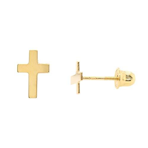 Gold 14k Cross Baby (14k Gold Simple Flat Cross Studs Screw Back Earrings)
