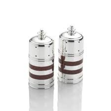 Towle Silversmiths Holiday Red Stripe Silverplated Salt & Pepper Shakers