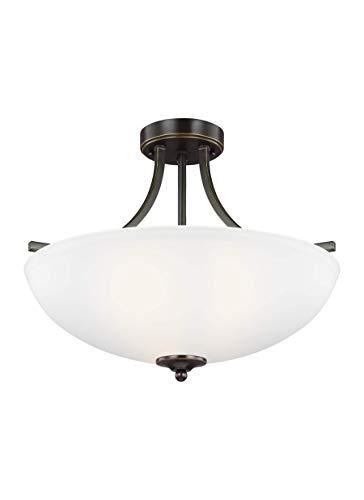 Sea Gull Lighting 7716503-782 Geary Medium Three-Light Semi-Flush Convertible Pendant Hanging Modern Light Fixture, Heirloom Bronze Finish ()