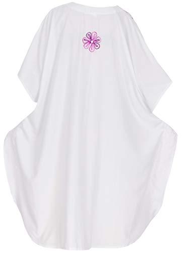 maxi Bianco vintage camicia i286 kaftano ricamati LA notte LEELA coprire donne da raion abito w6gzg7q