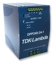 LAMBDA DPP240-24-1 AC/DC Converter, DIN Rail, 1 O/P, 264VAC, 24V; Power Supply Output Type:Adjustable, Fixed; Input Voltage AC MIN:93V; Input Voltage AC MAX:264V; Output