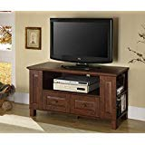44-Inch Classic Brown Wood Flat Screen TV Stand Media Console Storage Cabinet with Drawers