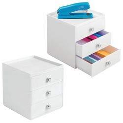 3 eleganti cassetti cancelleria cassettiera ufficio per una scrivania sempre in ordine mDesign Set da 2 organizer scrivania colore: bianco