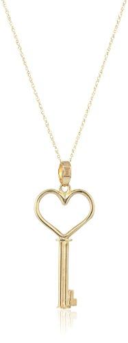 Gold Italian Heart - 14k Yellow Gold Italian Heart Key Pendant Necklace, 18
