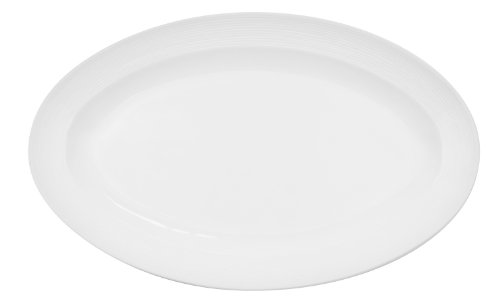CAC China TST-12 Transitions 9-1/2-Inch by 6-1/4-Inch Non-Glare Glaze Super White Porcelain Oval Platter, Box of 24 ()