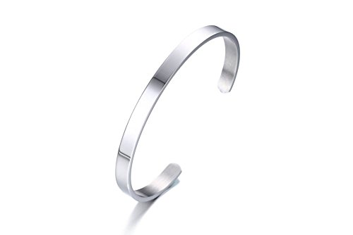 - 6MM Polished Plain Open Stainless Steel Cuff Bangle Bracelet Wristband for Women Men Girls Boys