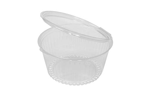 (Clear Plastic Bowl with Dome Lids for Salads Fruits Parfaits, Cookies 56oz, Disposable, Small Size [ 15 Pack] SHO Bowl)