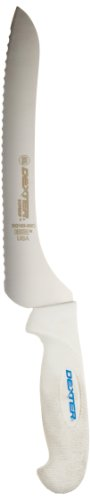 "Dexter-Russell SofGrip SG163-9SC-PCP 9"" White Scalloped Offset Sandwich Knife with Soft Rubber Grip Handle"