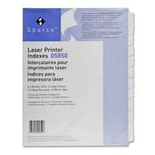 Sparco Laser Printer Indexing System - SPR01827 - Sparco Punched Laser Index Divider