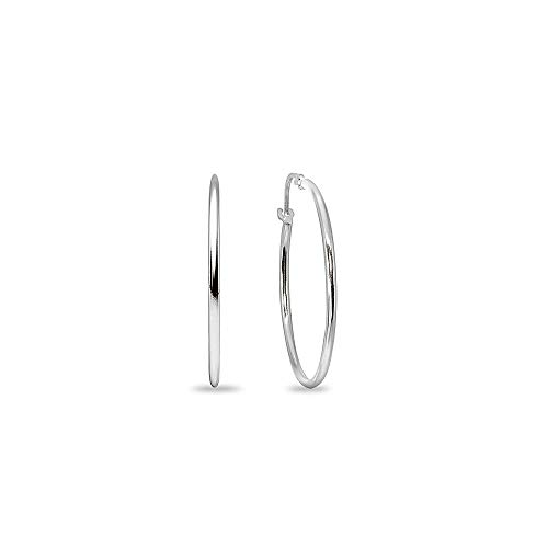 (14K White Gold Small 18mm Round Unisex Click-Top Hoop)