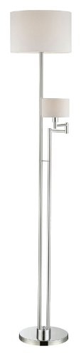 Downlight Fabric Shade (Lite Source LS-81866 Floor Lamp with White Fabric Shades, Chrome Finish)