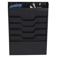 File Organizer, 4 Pockets, Top Section for Supplies, Black, Sold as 2 Each