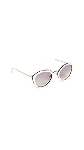 (Prada Women's Oval Sunglasses, Ivory/Violet, Off White, Purple, One Size)