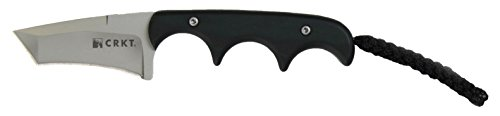 CRKT Minimalist Tanto Neck Knife: Retail Package Compact Fixed Blade Knife, Folts Utility Knife with Bead Blast Blade, Resin Infused Fiber Handle, and Sheath 2386C For Sale
