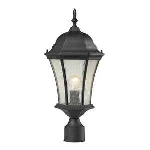 Post Park Outdoor Mount (ELK 45054/1 Wellington Park 1-Light Outdoor Post Mount with Seedy Glass Shade, 9 by 21-Inch, Weathered Charcoal Finish)