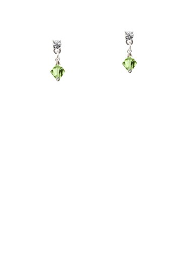 (August - Lime Green - 6mm Crystal Bicone Clear Crystal Post Earrings)