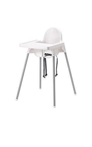 Ikea's ANTILOP Highchair with safety belt, white, silver color and ANTILOP Highchair tray, white by Ikea's antilop