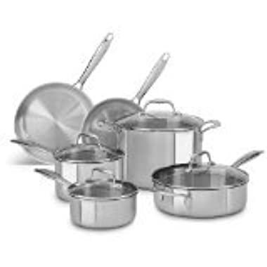 KitchenAid KCTS10ST Tri-Ply Stainless Steel 10-Piece Cookware Set - Stainless Steel