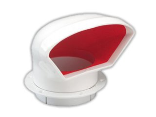 "3"" Marine Deluxe Low Profile Pvc Cowl Vent White & Red for Boat - Five Oceans"